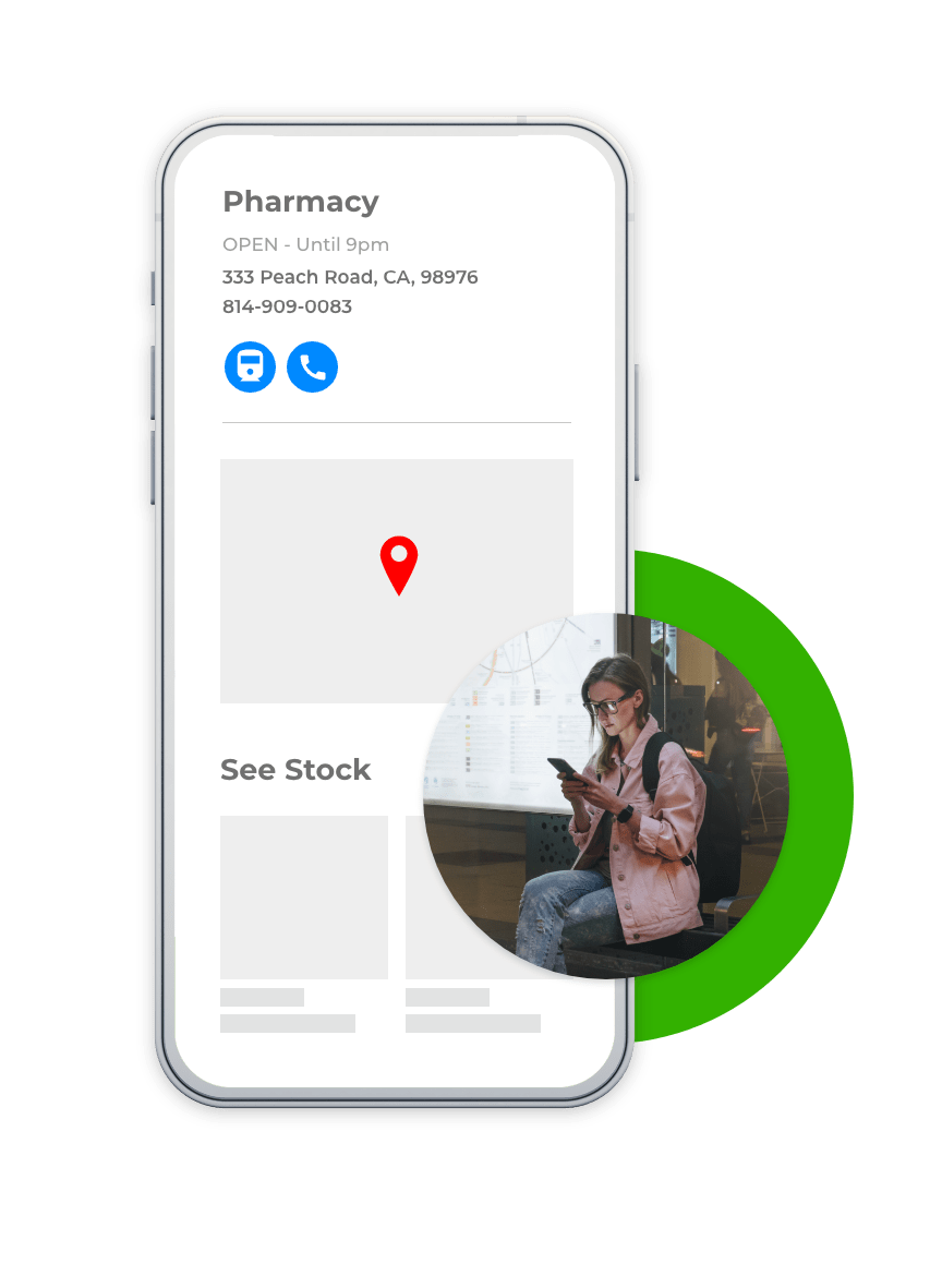 person browsing pharmacy's local page on phone